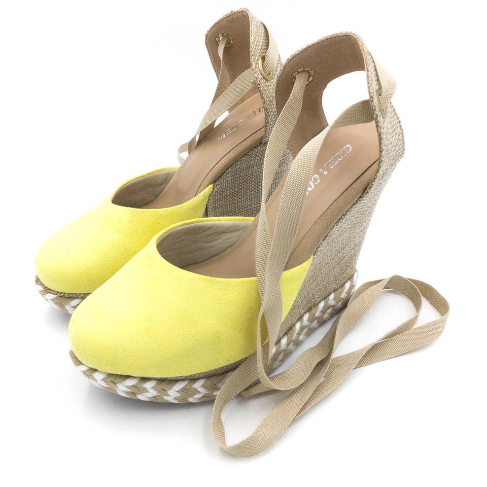 39a926190 ... Sandália Anabela Amarelo Salto Plataforma amarrar na perna corda ...