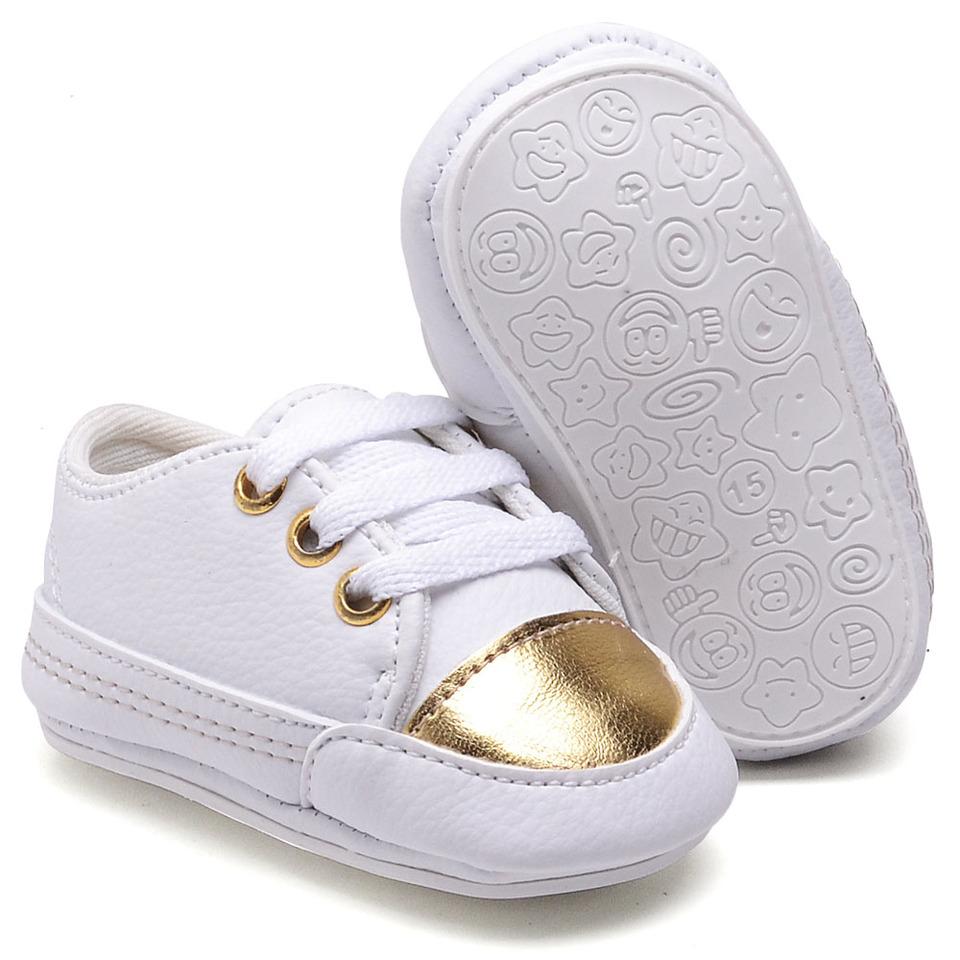 27ab4b0084 Tênis infantil Sapatinho de Bebe Feminino branco Dourado Recém Nascido