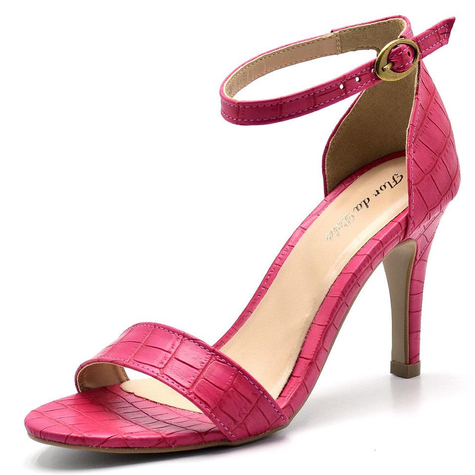 dc236607a6 Sandália Social Feminina salto fino Croco Pink - GiselaCosta