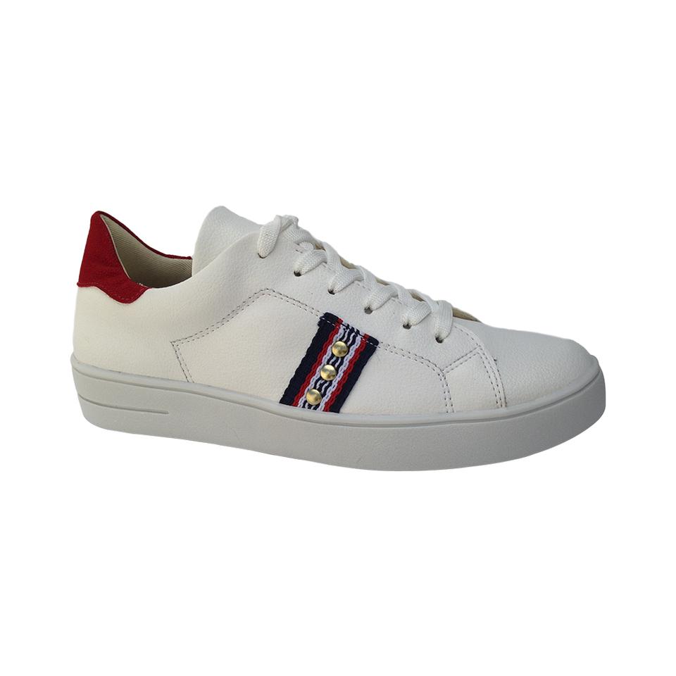 644153d1dd Tênis Casual Feminino Branco Detalhe vermelho - GiselaCosta