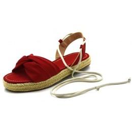 37025b88fc Sandália Espadrille Flat Avarca em Napa Vermelha amarrar na perna