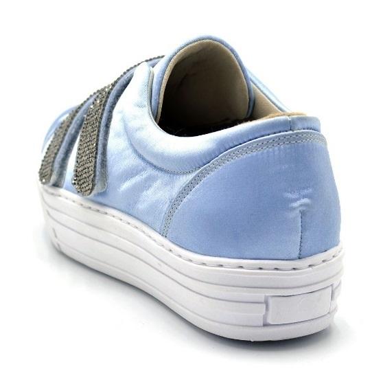 bb11625f6d Tênis Feminino Em Cetim com strass brilho velcro azul serenity ...