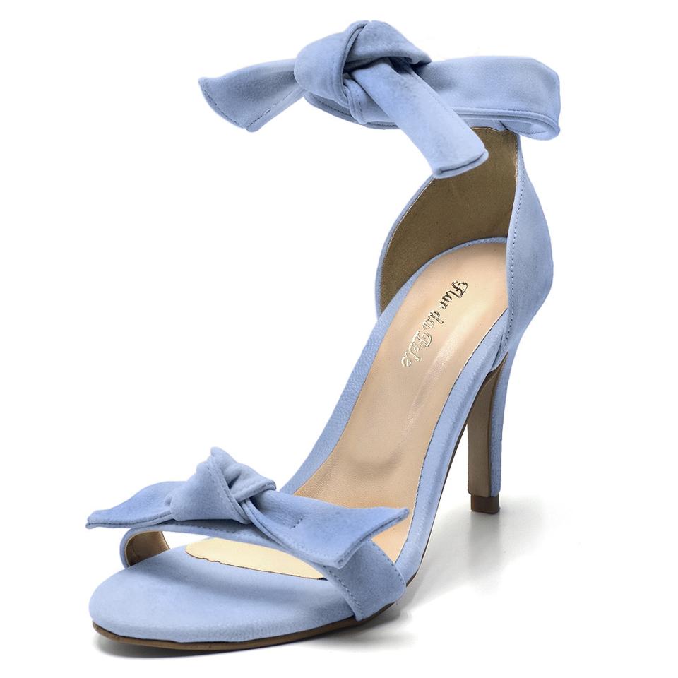 Feminina Azul Alto Social Sandalia Laço Claro Fino Salto QCosrBhdxt