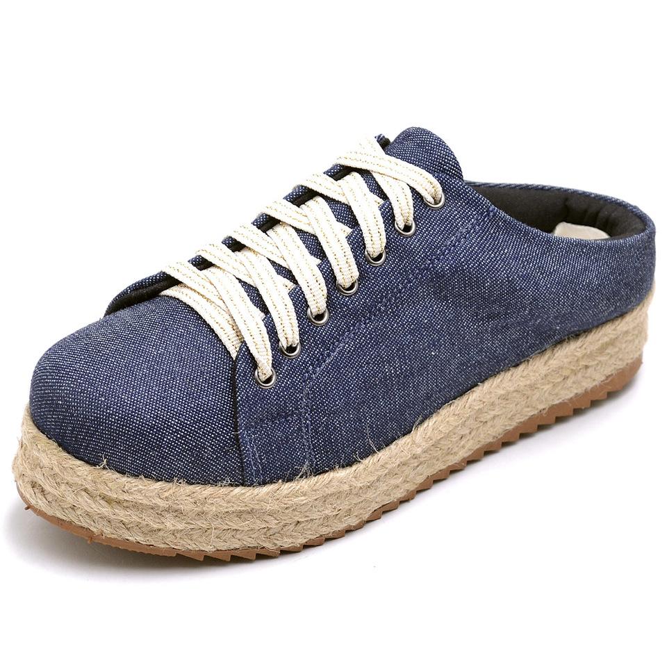 5dcf275db5 Tênis Feminino Mule Flatform Corda Jeans Calcanhar Aberto - GiselaCosta