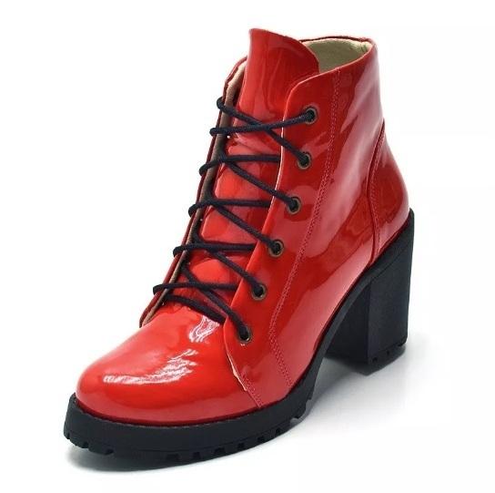784ad11244 Bota Cano Curto Coturno feminino vermelho tratorada - GiselaCosta