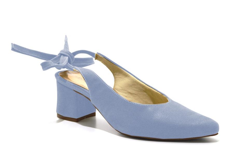 c6ea0efce7 Scarpins chanel Sapato Feminino Azul Claro Salto Baixo Amarrar ...