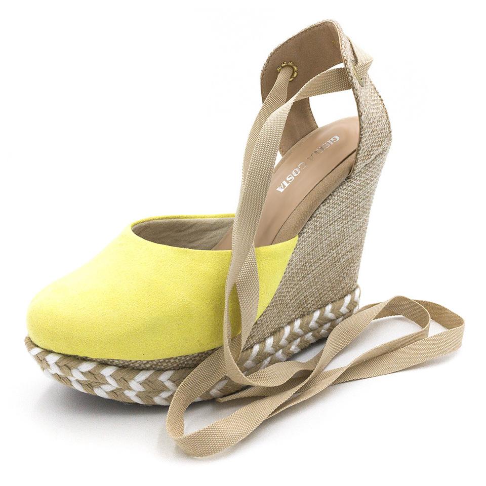 4cea81cd6 Sandália Anabela Amarelo Salto Plataforma amarrar na perna corda ...