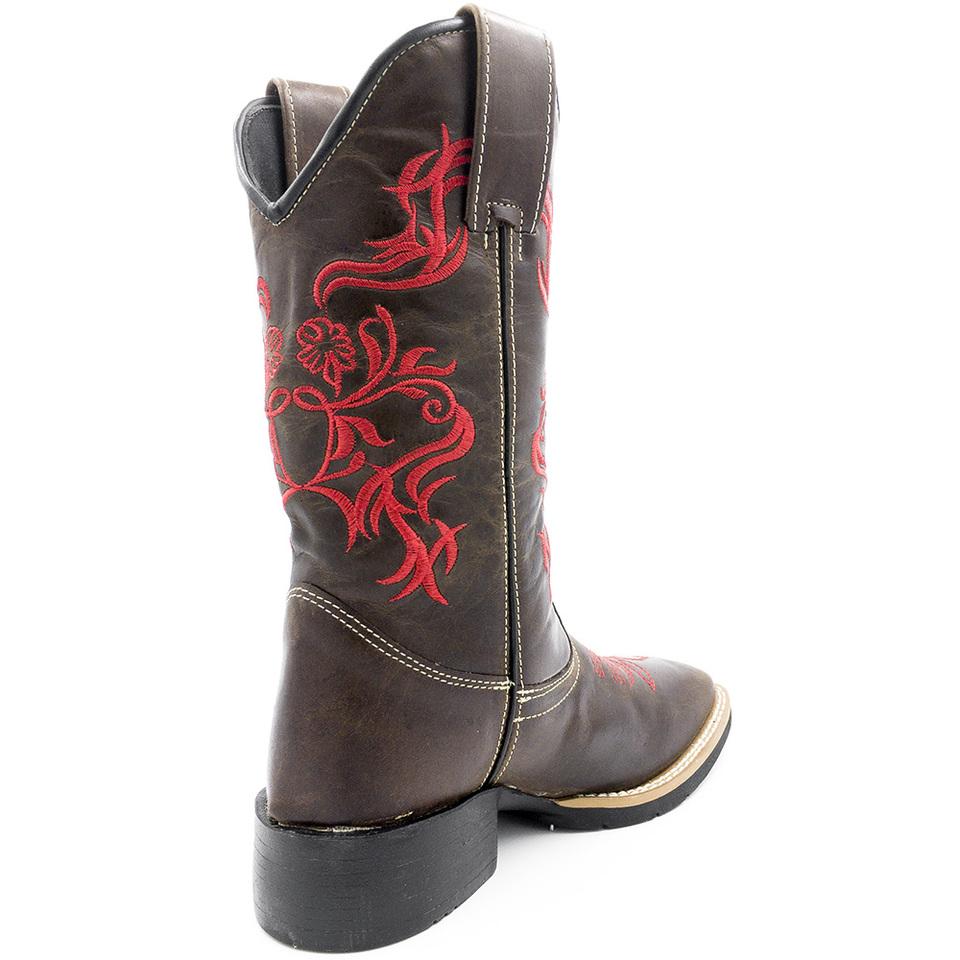 cdb9c6714 Bota Texana Feminina Marrom Bico Quadrado Bordado vermelho - GiselaCosta
