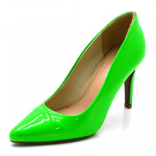 095581c74e Sapato Scarpin Salto Alto Fino em Napa Verniz Verde Neon - GiselaCosta