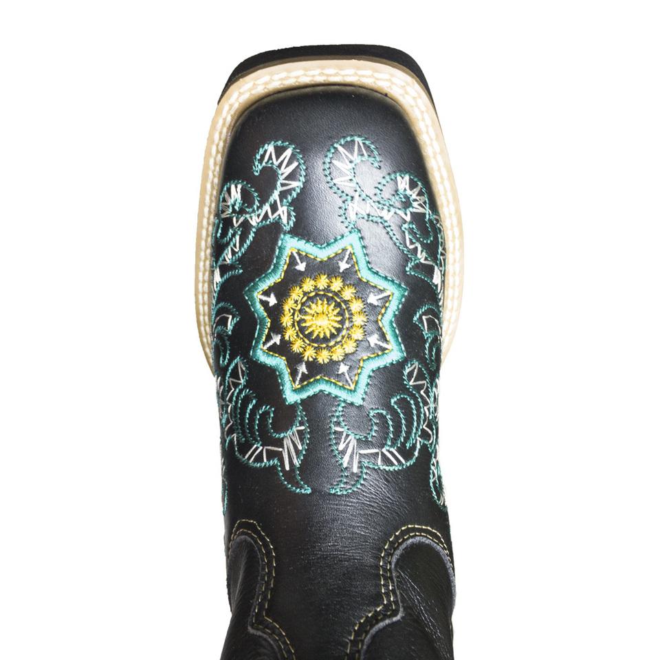 e55a989d1 Bota Texana Feminina Preta Bico Quadrado Bordado em azul - GiselaCosta