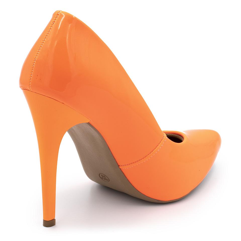 b6741ff5d2 ... Sapato Social Feminino Scarpins Laranja Neon salto alto fino ...