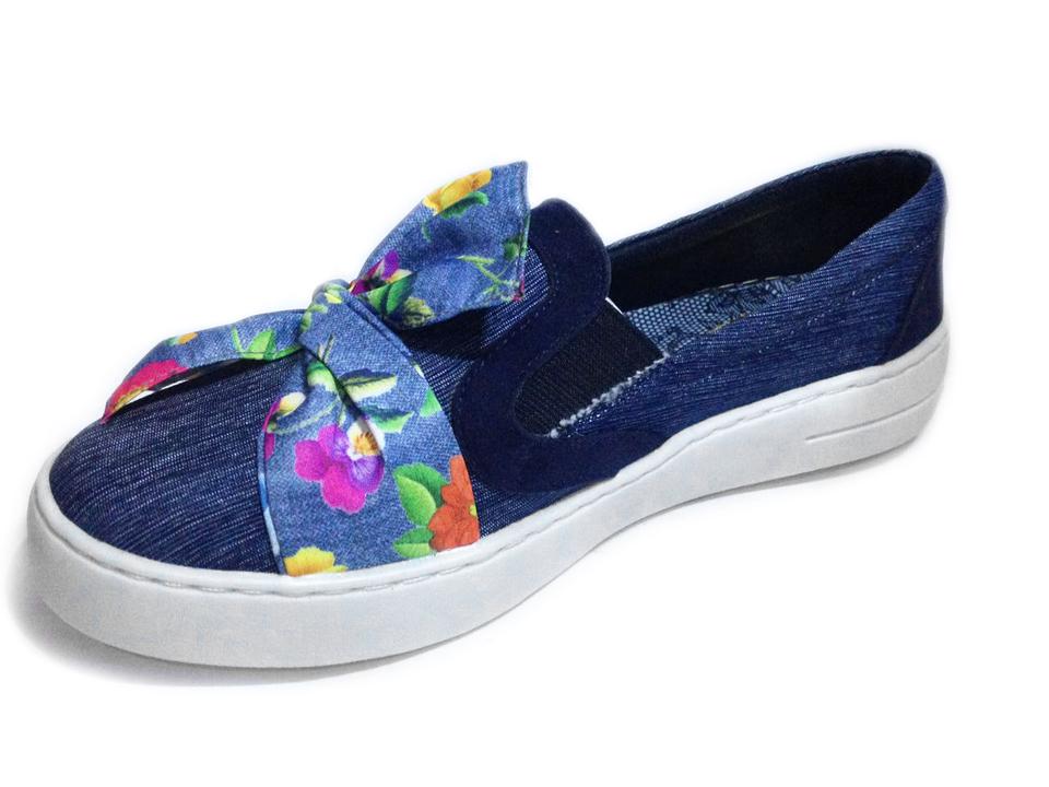 0716022315 Tenis Jeans Iate Feminino Laço detalhe floral - GiselaCosta