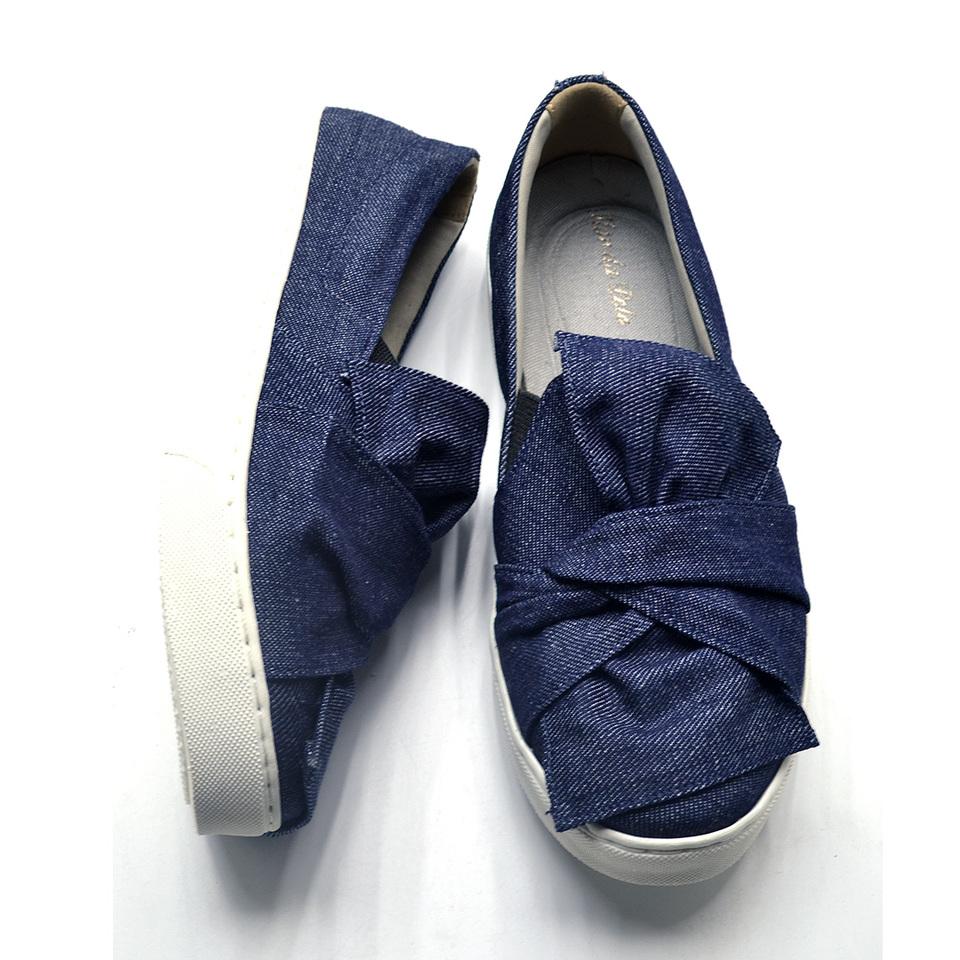 4f493621e Tenis casual feminino laço jeans slip on - GiselaCosta