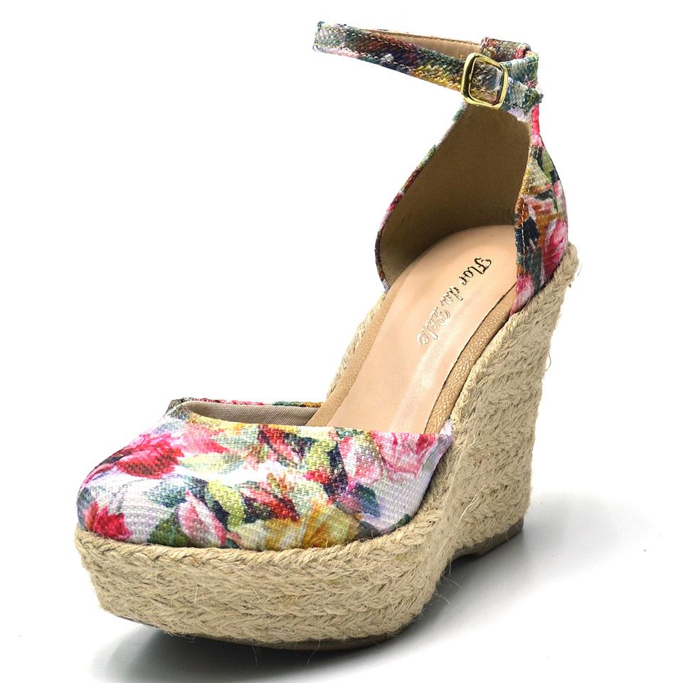 1b60122929 Sandalia Anabela Espadrille floral Salto plataforma conforto 3009 ...