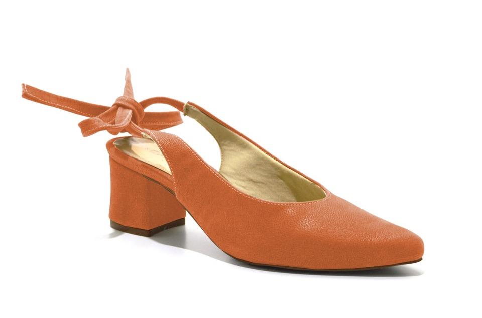 4dad1d607c Scarpins Chanel Sapato Feminino Laranja Salto Baixo Amarrar ...