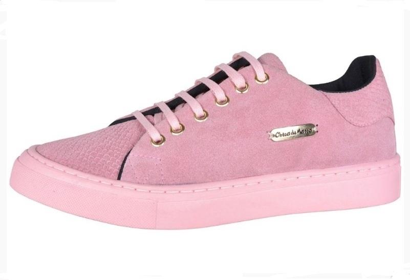 84a855b309 Tenis Casual Camurça rosa cheia de marra - GiselaCosta