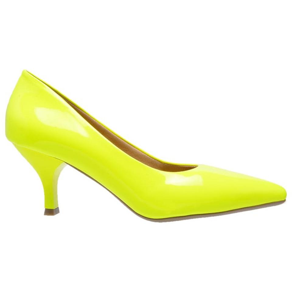 d15200ddfb Sapato Social Feminino Scarpin amarelo neon salto baixo fino ...