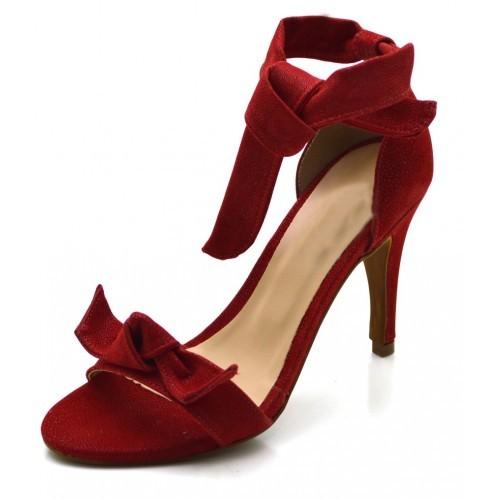 5c00fec653 Sandalia Social Feminina salto alto fino Tira Laço vermelha ...