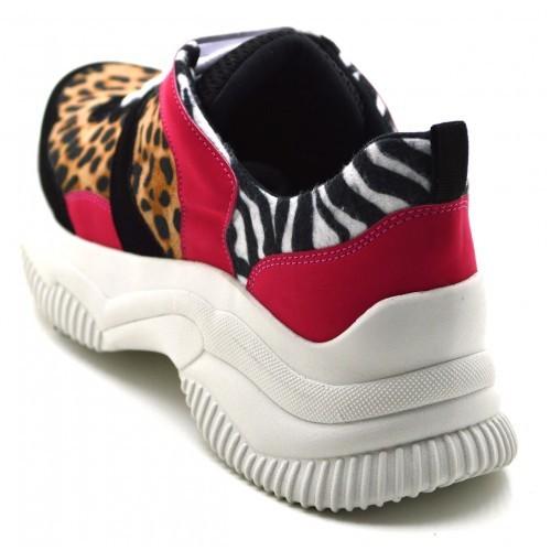 b0f1b09cd22 ... Tênis Sneakers Chuncky Recortes em Nobucado Preto com Detalhes em Onça  e Zebra ...