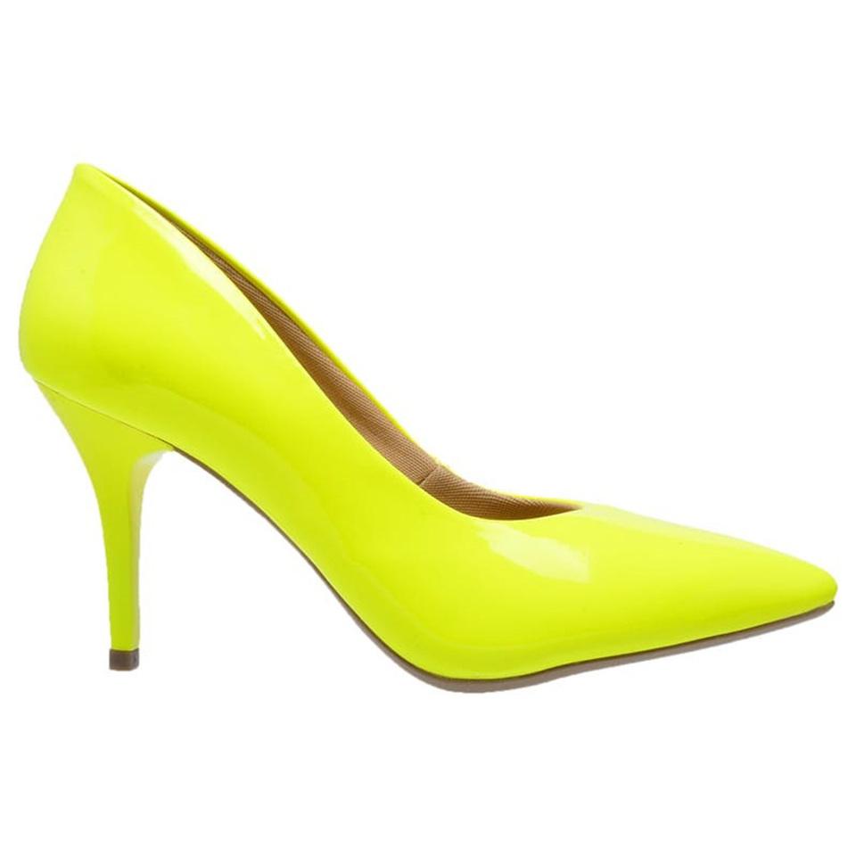a9084b919e Sapato Social Feminino Scarpin amarelo neon salto medio fino ...