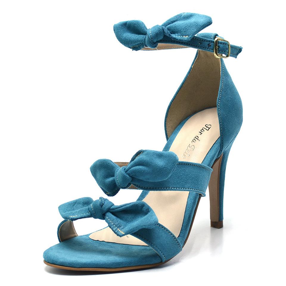 bcdec8cfa Sandalia Feminina Estilo Arezzo 3 Laços Azul Agua Salto Agulha ...