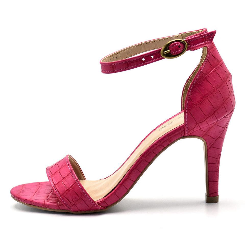 2a03fffa32 Sandália Social Feminina salto fino Croco Pink - GiselaCosta