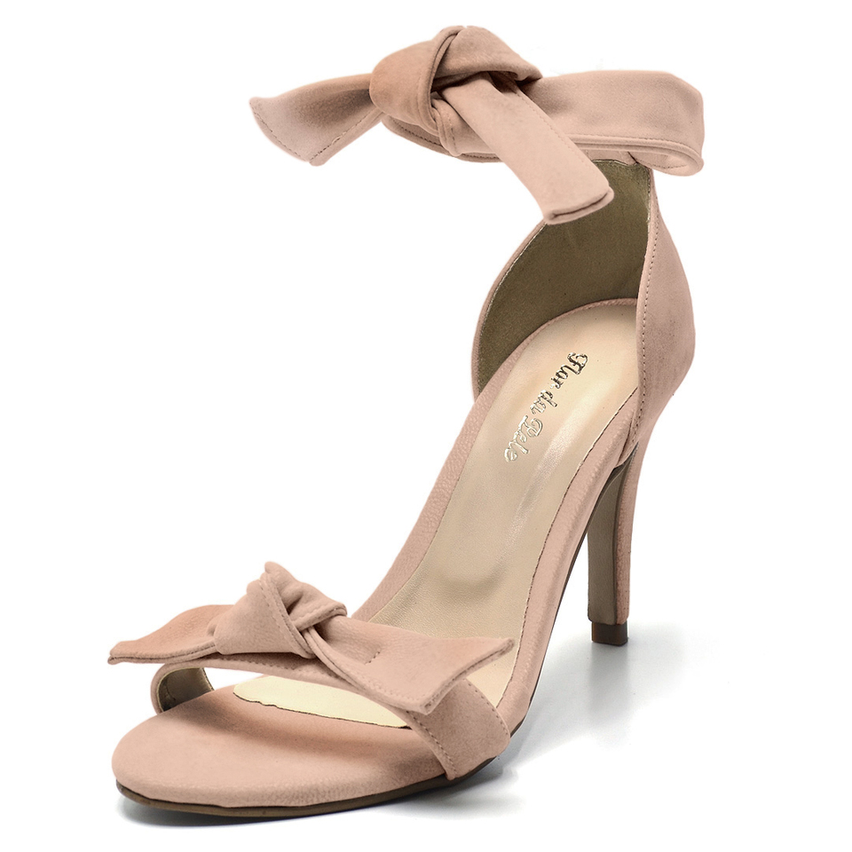 0ac166339 Sandalia Social Feminina salto alto fino Laço rosa claro - GiselaCosta