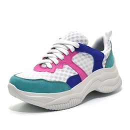 5f4b75aa6 Tênis feminino Sneakers Chunky turquesa azul e pink