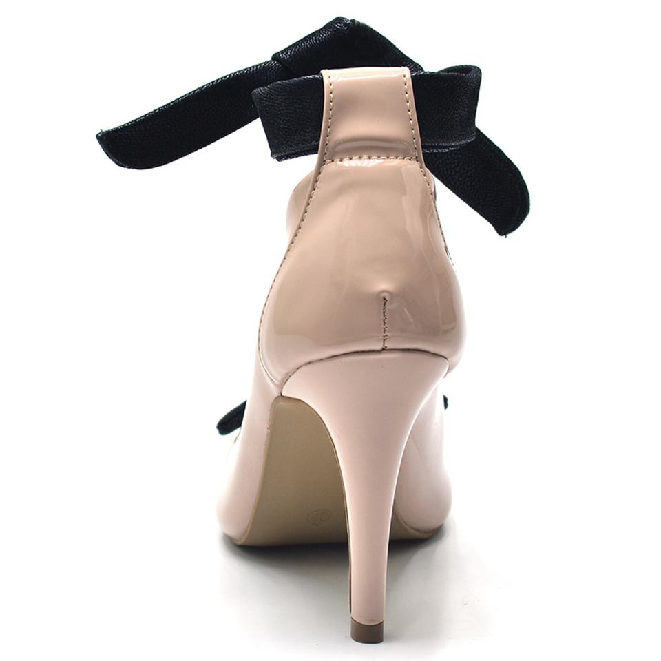 8cef1c105 Sapato social scarpin feminino nude laço preto salto fino - GiselaCosta
