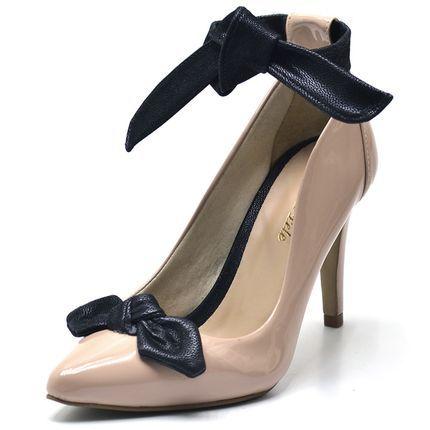 528b3a52591b2 Sapato social scarpin feminino nude laço preto salto fino - GiselaCosta