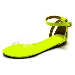 b61238f845 Sandália Rasteira com Tira em Napa Neon Amarelo e Transparência