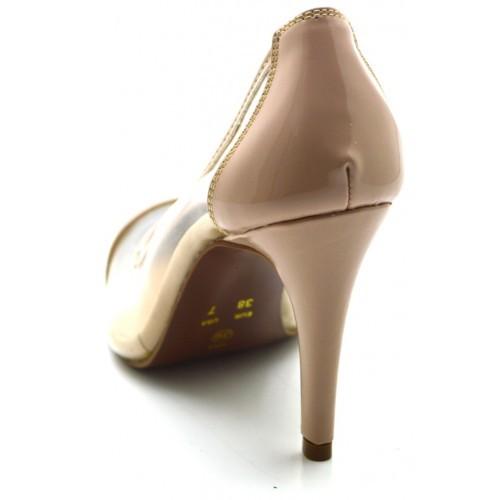 60f9ab458 ... Sapato Scarpin Salto Alto Fino em Verniz Nude com Transparência ...