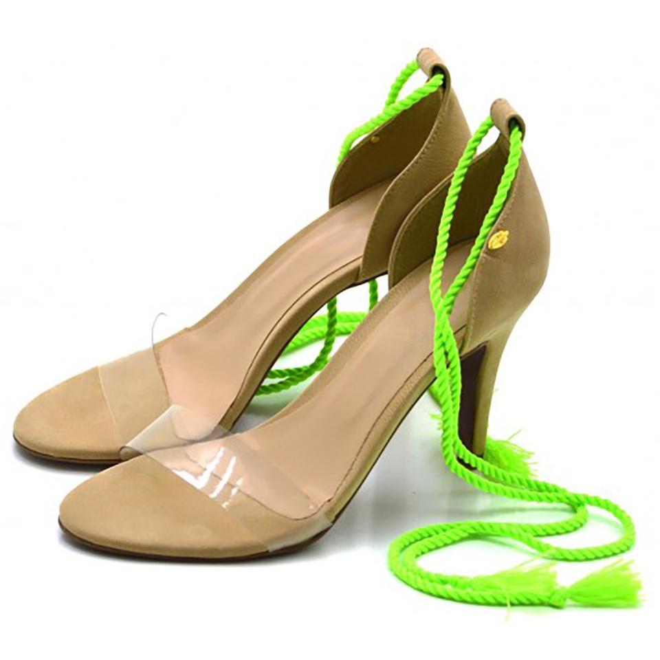 4a8f549df ... Sandália Feminina Social Salto Alto Nude com Corda Verde Neon