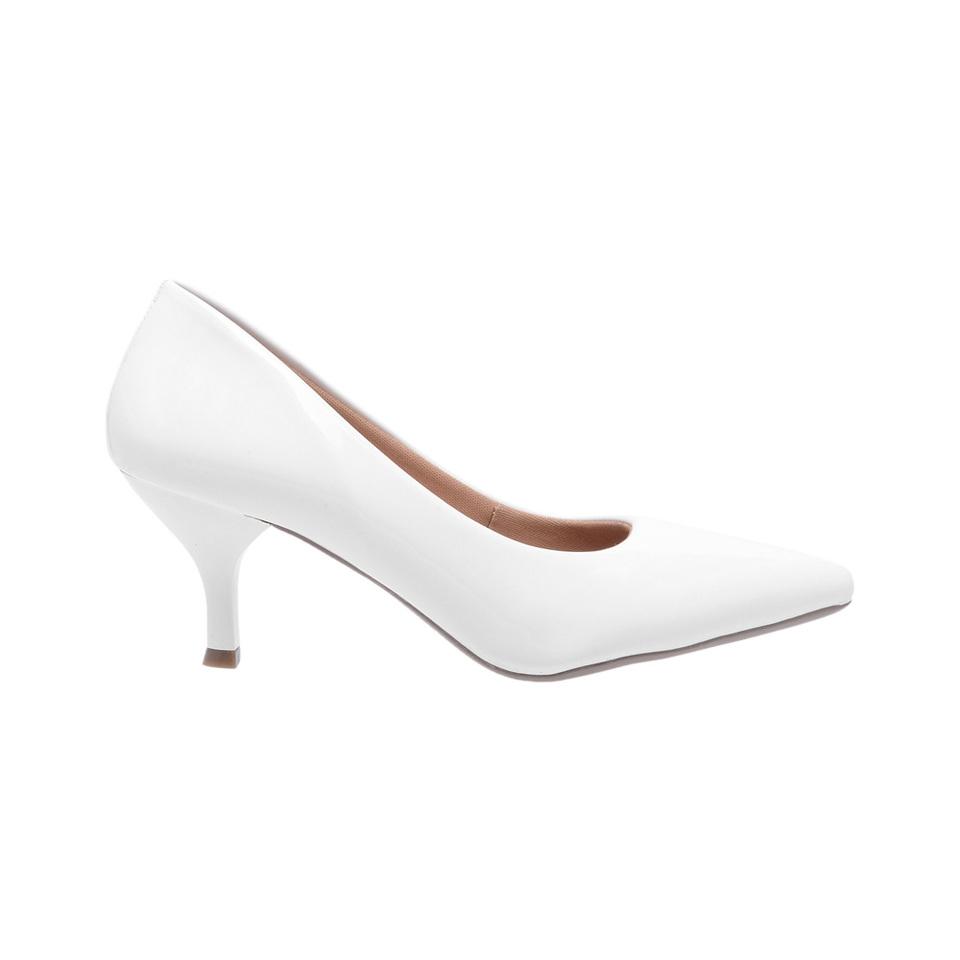 b58e72bedd Sapato Social Feminino Scarpin Branco salto baixo fino - GiselaCosta