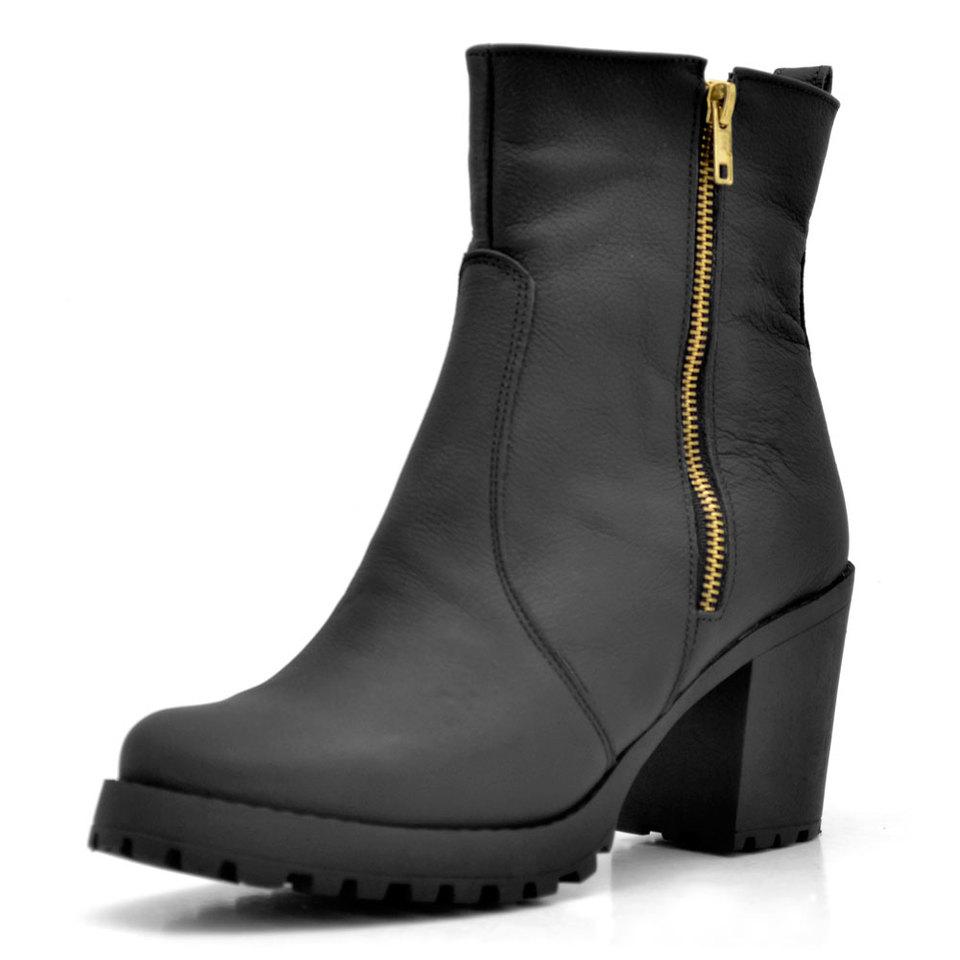 1ea7f36911 Bota Feminina Ankle Boot Couro Preto - GiselaCosta