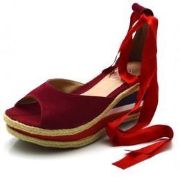 e3188d22bb Sandália Anabela Salto Médio tiras Paralelas Vermelha amarrar na perna