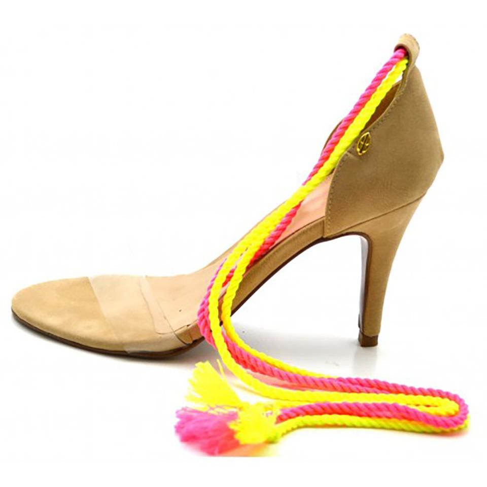 Sandália feminina social salto alto nude com corda pink