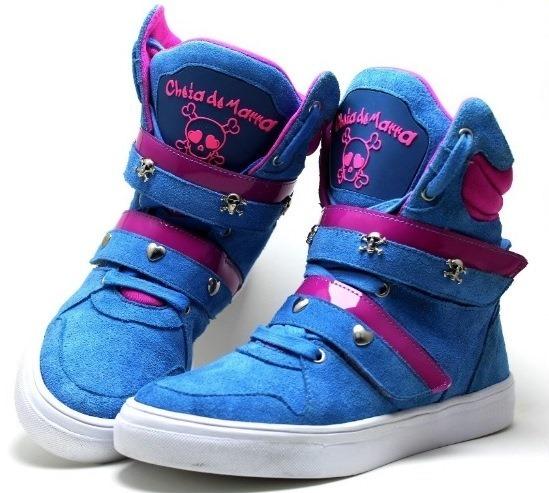 1d4b305a4af Tênis Cano Alto Feminino Azul e Rosa Couro Cheia De Marra - GiselaCosta