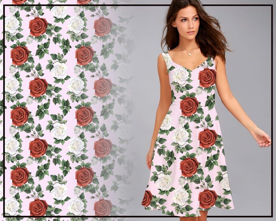 *PRE VENDA* NEOPRENE ESTAMPA FLORAL FLOWERS RED