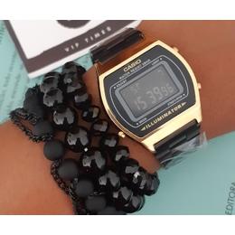 407527aec02 Casio black e dourado com kit de pulseiras.