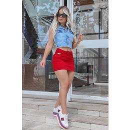 Saia Jeans Reta Vermelha