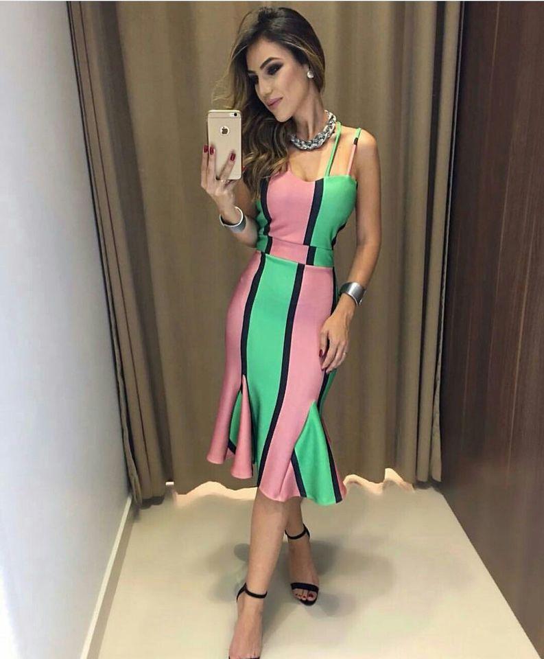 Vestido verde e rosa