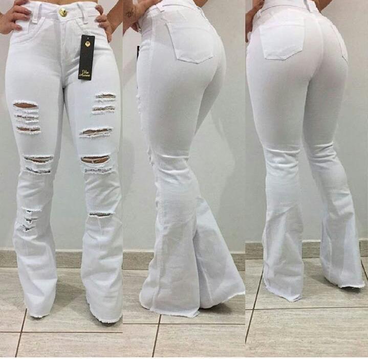 Calça Jeans Flare Branca - Rosa Store 0713fca9857e2