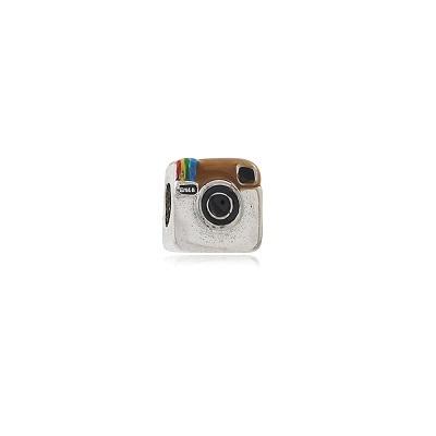Berloque Instagram Banhado em Ouro Branco