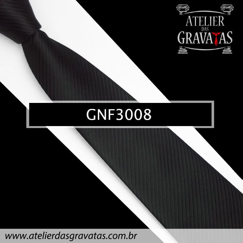 Gravata Slim Preta 8cm GNF3008