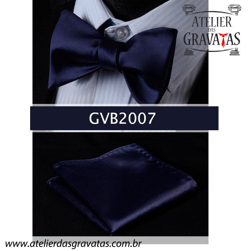 Gravata Borboleta Azul Escuro de Seda Especial GVB2007