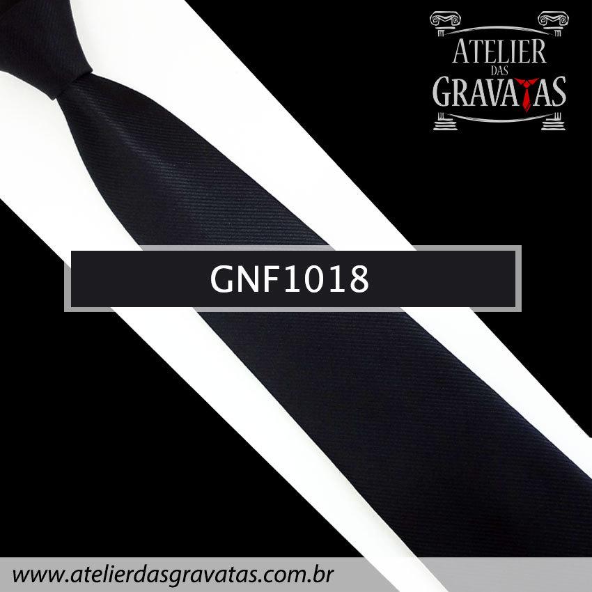 Gravata Slim Preta de Seda 8cm GNF1018