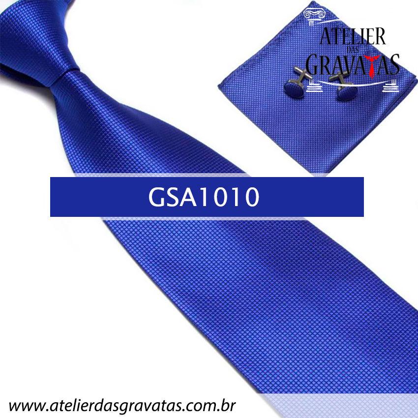 Gravata Azul Royal de Seda 10cm GSA1010 - acompanha lenço e abotoaduras