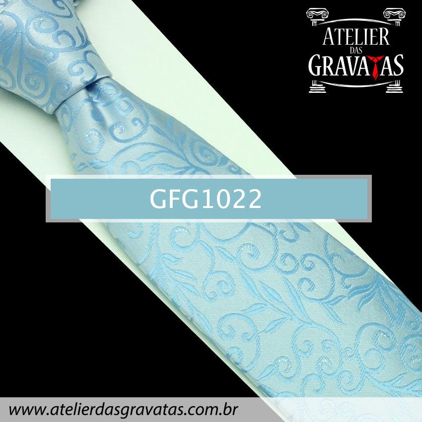 Gravata Slim Especial Floral 9cm GFG1022 - acompanha lenço