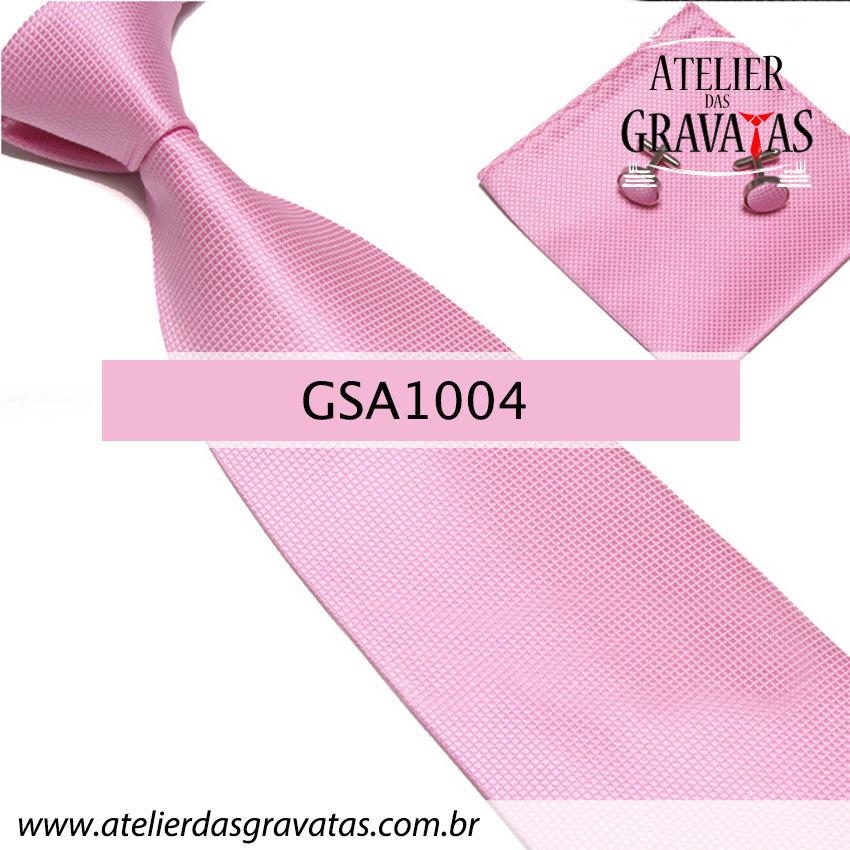 Gravata Rosa de Seda 10cm GSA1004 - acompanha lenço e abotoaduras